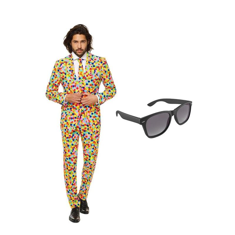 Confetti print heren kostuum maat 58 (XXXXL) met gratis zonnebri Multi
