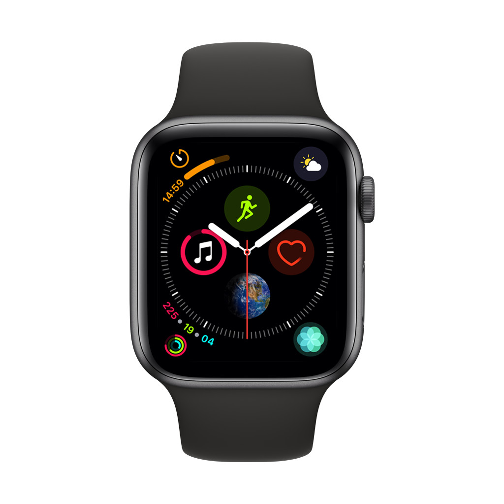 Apple Watch Series 4 44mm Space Gray Aluminium/Zwarte Sportband